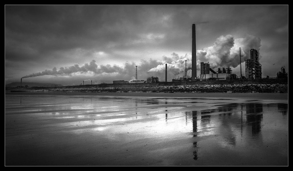 Steel works reflection